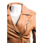 Ladies Tan Buckled Asymmetric Biker Style Leather Jacket