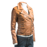 Ladies Tan Buckled Asymmetric Biker Style Leather Jacket