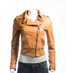 Ladies Tan Short And Simple Asymmetric Biker Style Leather Jacket