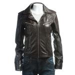 Ladies Brown Short Biker Style Leather Jacket