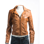 Ladies Tan Short Biker Style Leather Jacket