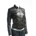 Ladies Black Slim Fit Biker Style Leather Jacket