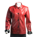 Ladies Red Buttoned Leather Jacket