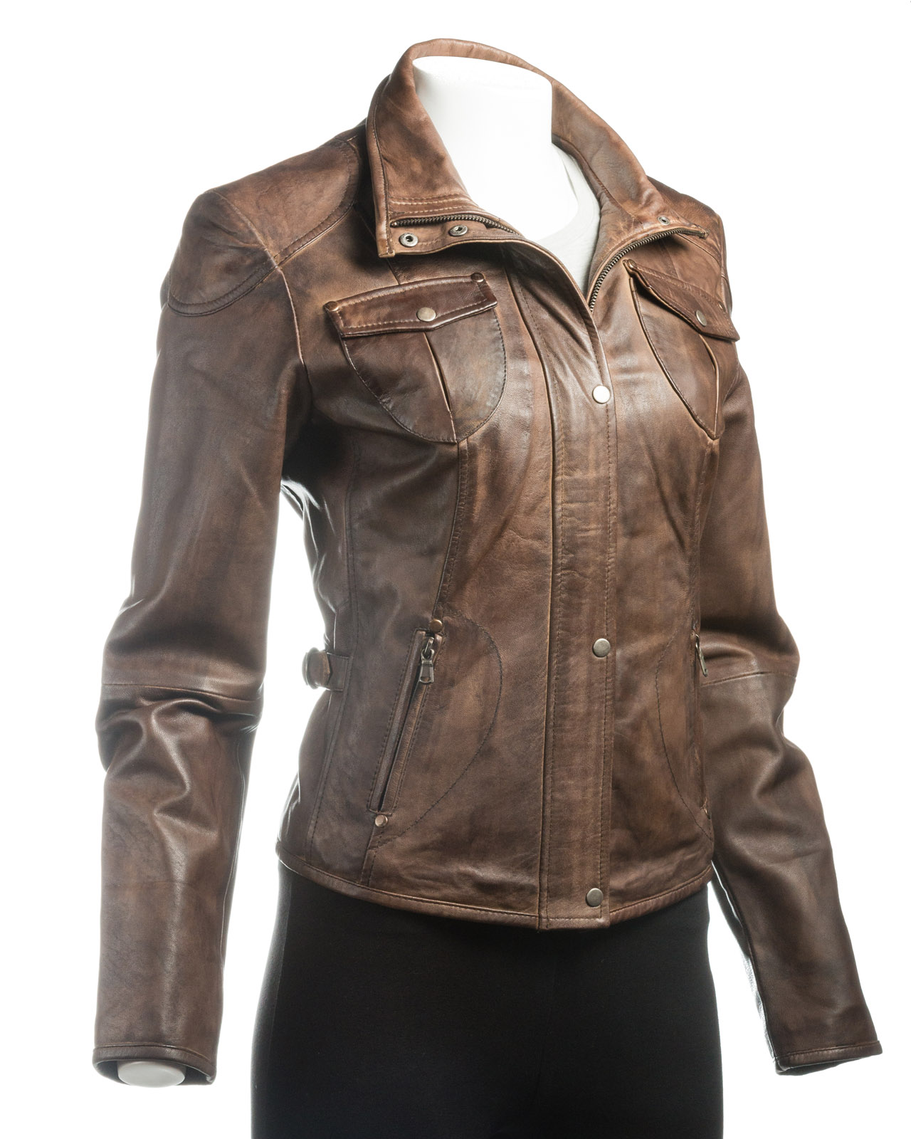Just Reduced! This Brown % Leather Jacket Is As Soft As Butter! Short In Length But Tailored With Tabs And Buttons On The Back And Sleeves, As Well As Lapel Pocket And And 2 Slanted.