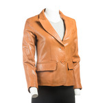 Ladies Tan Short Two Button Single Breasted Leather Blazer