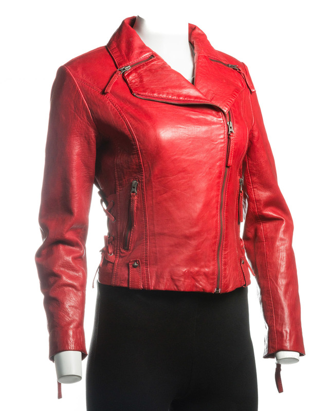 Ladies Red Stud Detail Slim Fit Biker Style Leather Jacket