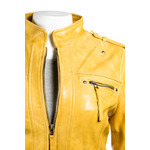 Ladies Yellow Fitted Biker Style Leather Jacket
