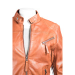 Ladies Tan Slim Fit Biker Style Leather Jacket