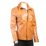 Ladies Tan Shirt Style Leather Jacket with Press Stud Fasteners