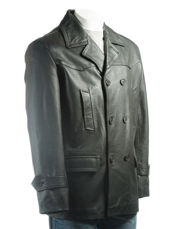 Men's Black Cow Hide Peacoat
