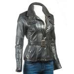 Ladies Black Belted Biker Style Leather Jacket