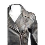 Ladies Antique Black Belted Asymmetric Biker Style Leather Jacket