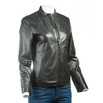 Ladies Black Plain Short Zipped Leather Jacket