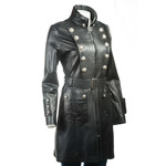 Ladies Three Quarter Length Military Style Leather Coat