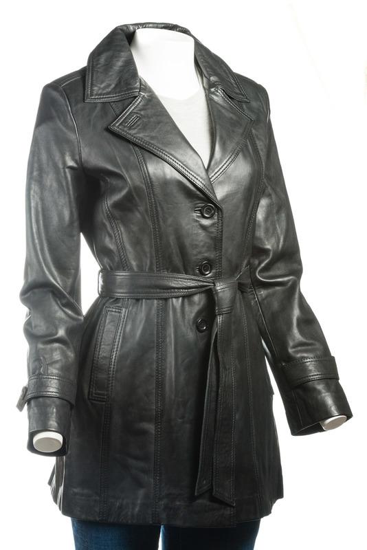 Ladies Black Mackintosh Style Leather Coat