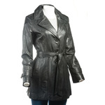 Ladies Black Mackintosh Style Leather Coat