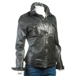 Ladies Black Shirt Style Leather Jacket with Press Stud Fasteners