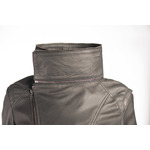 Ladies Black Dual Collar Biker Style Leather Jacket