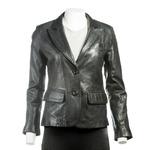 Ladies Black Short Two Button Leather Blazer
