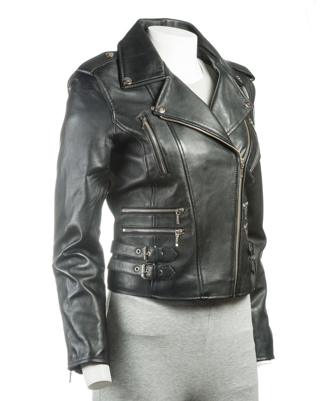 Ladies Black Buckled Asymmetric Biker Style Leather Jacket