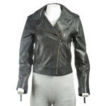 Ladies Black Short And Simple Asymmetric Biker Style Leather Jacket