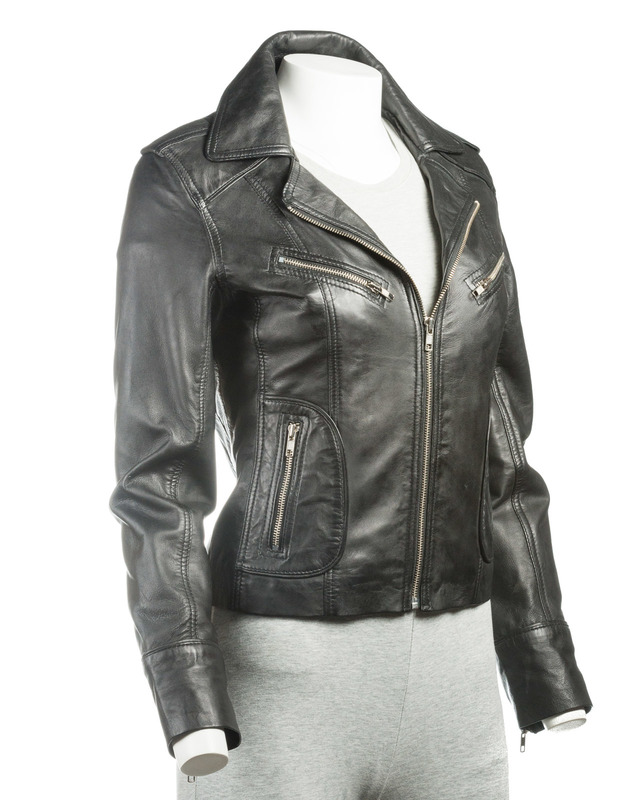 Ladies Black Short Biker Style Leather Jacket