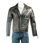 Men's Antique Black Vintage Look Biker Style Leather Jacket