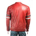 Men's Red Racing Biker Style Leather Jacket