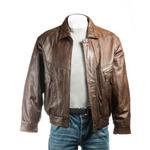 Men's Brown Pocket Detail Blouson Style Leather Jacket