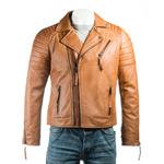 Men's Tan Vintage Look Biker Style Leather Jacket