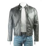 Men's Black Racer Style Leather Jacket