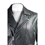 Men's Black Cow Hide Leather Biker Jacket With Diamond Stitch Shoulder Detail