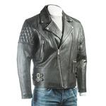 Men's Black Cow Hide Leather Biker Jacket With Diamond Stitch Shoulder Detail
