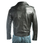 Men's Black Brando Classic Biker Style Leather Jacket