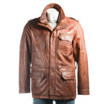 Men's Tan Double-Collared Leather Coat