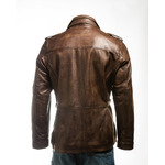 Men's Brown Double-Collared Leather Coat