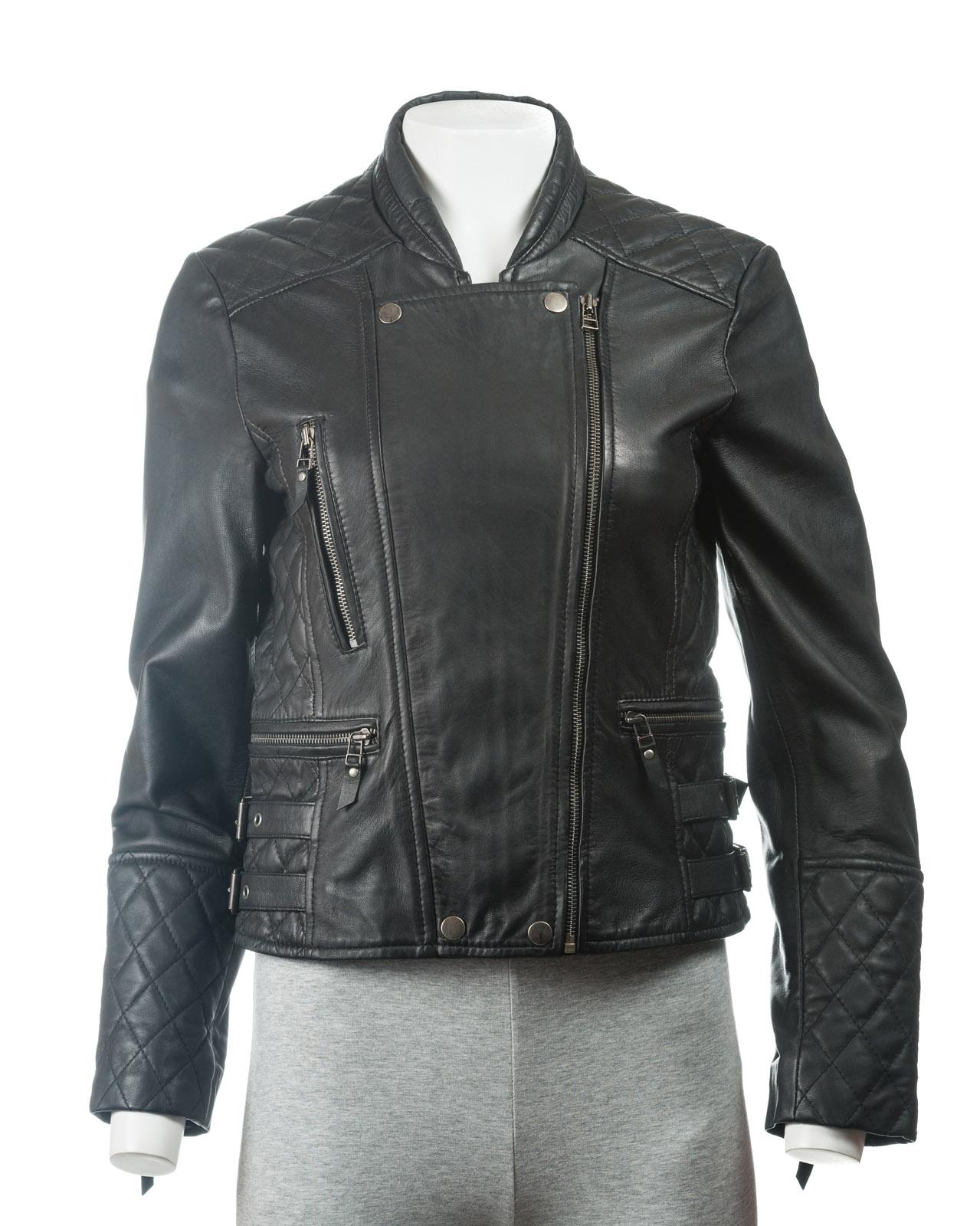 Ladies Black Slim Fit Leather Biker Jacket With Stand Up