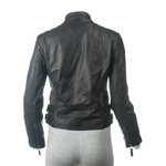 Ladies Black Slim Fit Leather Biker Jacket With Stand-Up Collar
