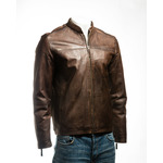Men's Brown Simple Collarless Zipped Leather Jacket