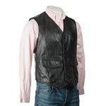 Men's Black Button-Up Leather Waistcoat