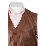 Men's Tan Button-Up Leather Waistcoat