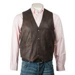 Men's Brown Stud Fastening Leather Waistcoat