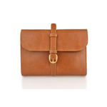 """Woodland 10.0"""" Leather Tan Roll Out Military Wash Bag"""