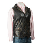 Men's Antique Black Collared Button-Up Leather Waistcoat