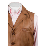 Men's Tan Collared Button-Up Leather Waistcoat