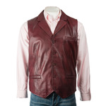 Men's Burgundy Collared Button-Up Leather Waistcoat