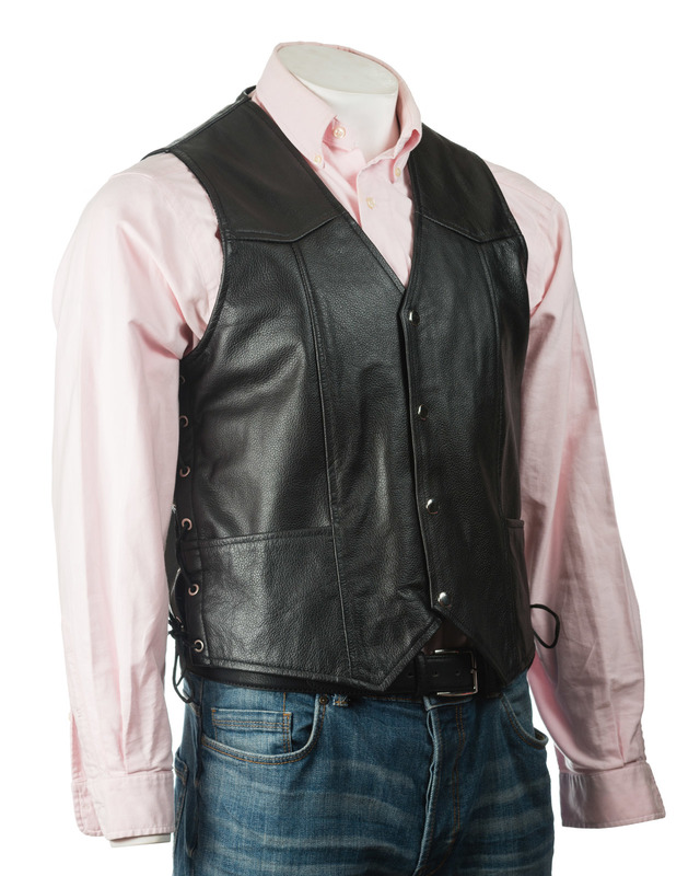 Men's Black Rough Finish Hide Stud Fastening Leather Waistcoat With Lace-Up Sides