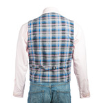 Men's Blue Half Skin Leather Waistcoat