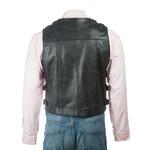 Men's Black Hide Clip Fastened Leather Waistcoat