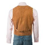 Men's Tan Suede Button-Up Waistcoat